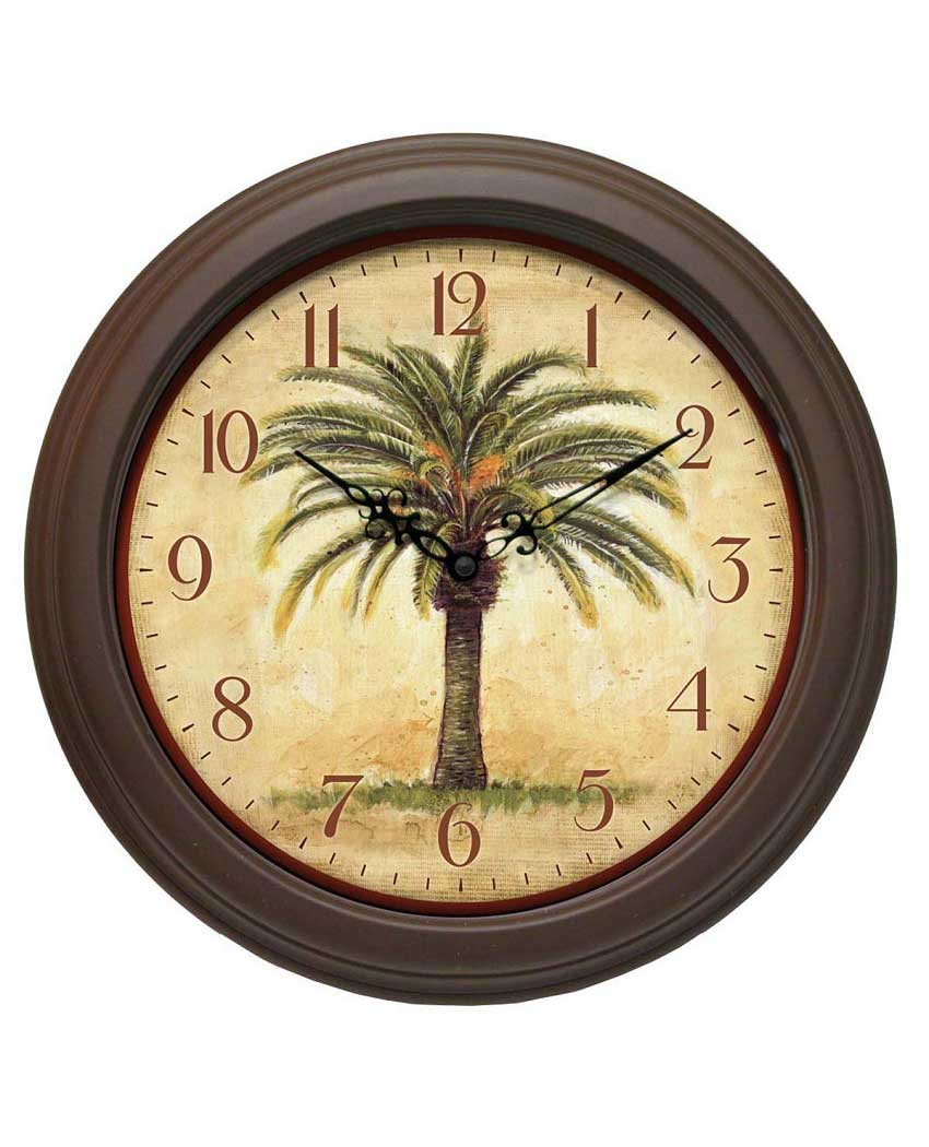 palm tree cabana wall clock 12 inch