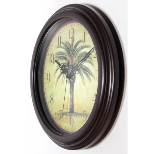 from left side cabana brown palm tree wall clock tropical 12 inch