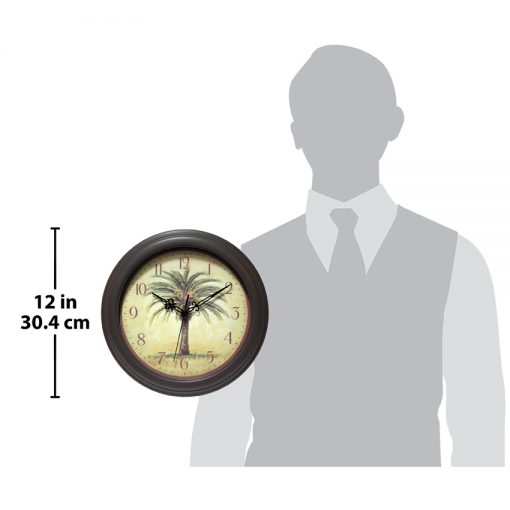 for scale cabana brown resin wall clock 12 inch exotic tropical palm tree clock