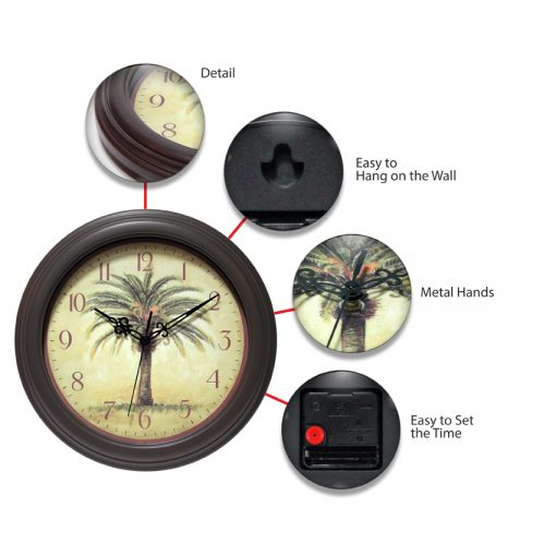features of cabana brown resin wall clock 12 inch palm tree