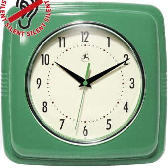 9.25 inch Square Retro Green Resin Wall Clock