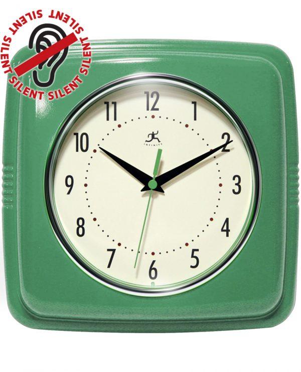 9.25 inch Square Retro Green Resin Wall Clock