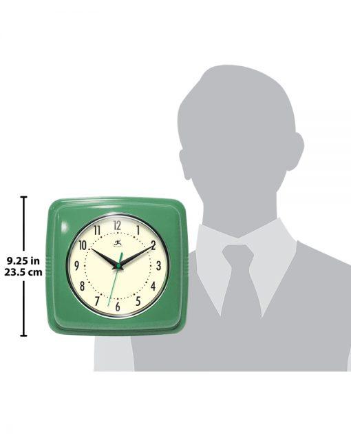 square retro green wall clock 9 inch for scale