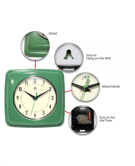 square green retro wall clock 9 inch
