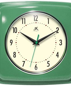 Square Green Retro Wall Clock kitchen
