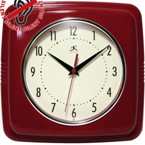 9.25 inch Square Retro Red Resin Wall Clock