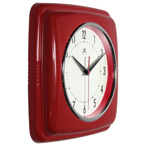 from left side square retro red wall clock 9 inch