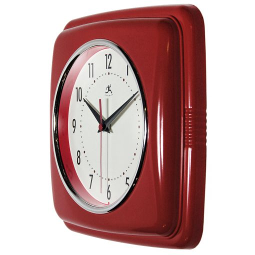 from left side square red retro wall clock 9 inch for kitchen