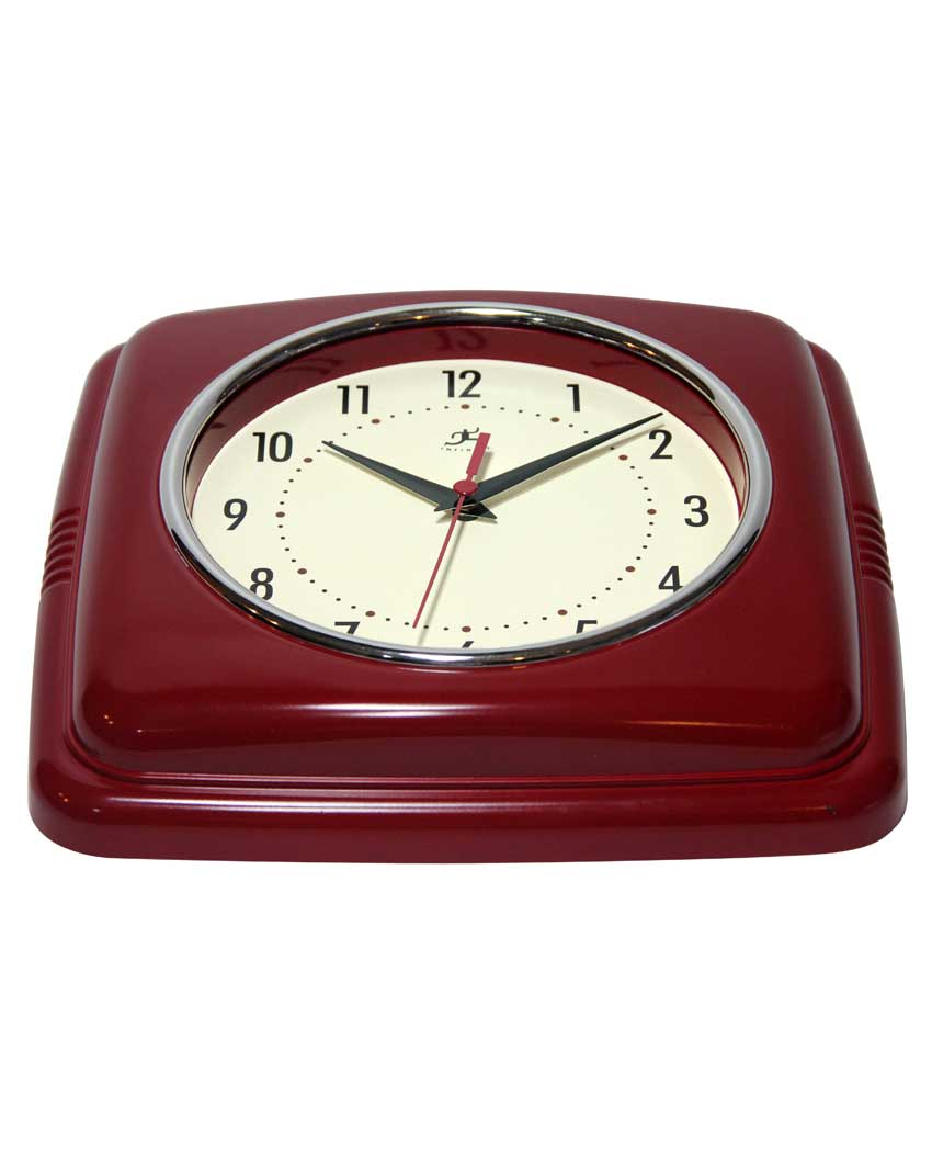 9 25 Inch Square Retro Red Resin Wall Clock Clock By Room