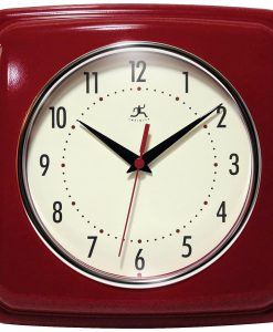 Square Retro Wall Clock Red kitchen