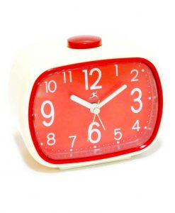 3.75 inch Retro Alarm Cream Resin Tabletop Clock