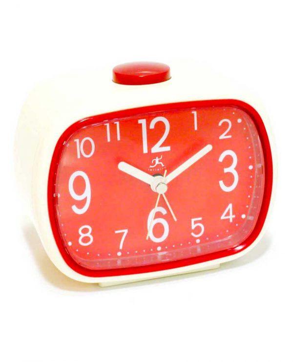 3.75 inch Retro Alarm Cream Resin Tabletop Clock