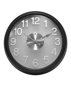 grey and black modern office wall clock
