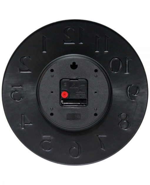 back side of vogue black resin wall clock 12 inch