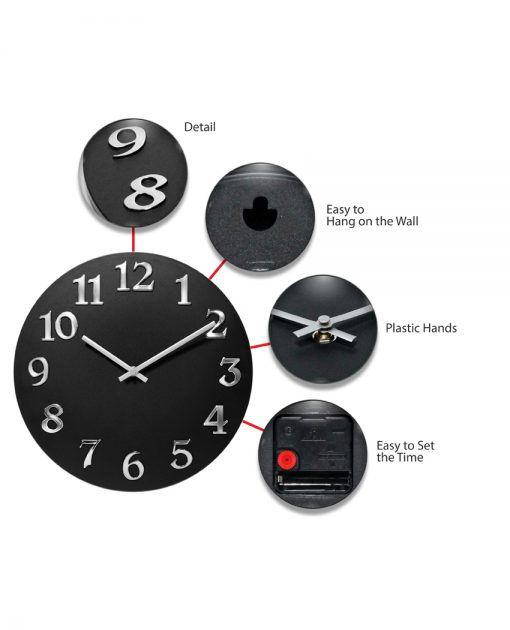 vogue black silver wall clock 12 inch