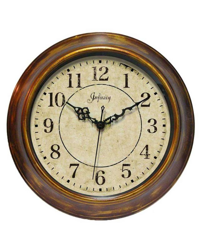 14 inch The Keeler; a Brown Steel Wall Clock