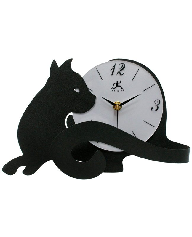 7 inch Cat Lovers Black Steel Tabletop Clock