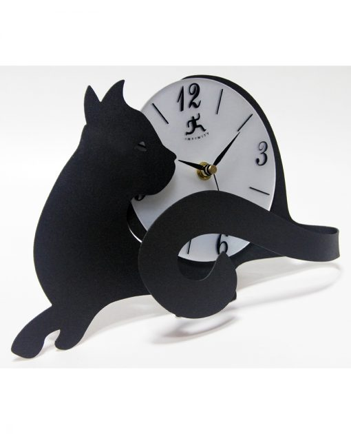 cat clocks tail tabletop 7 inch