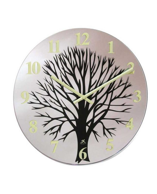 14 inch Topiary; a Cream Glass Wall Clock