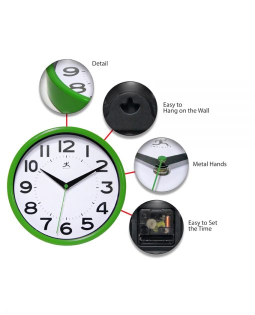 green metro wall clock 9 inch