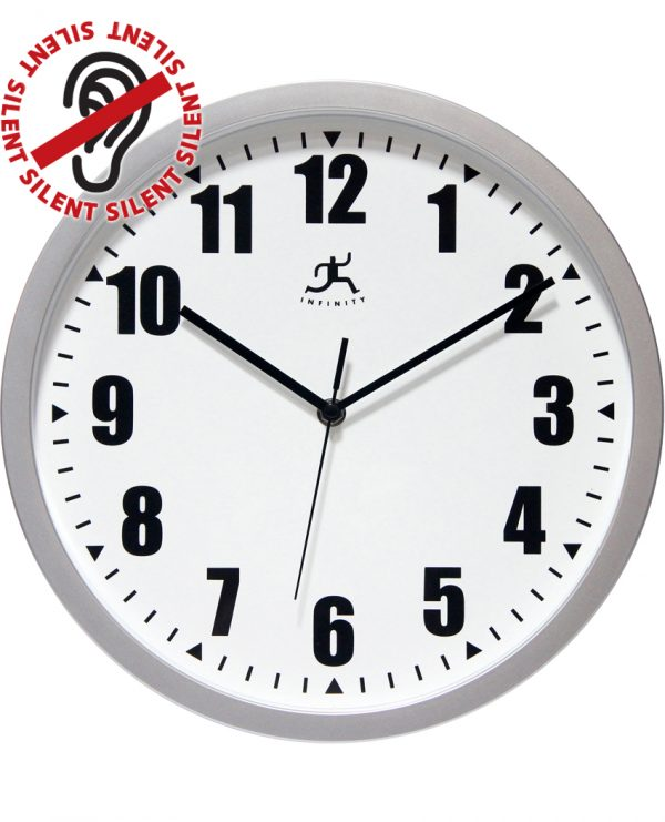12 inch Silver Office; a Silver Resin Wall Clock