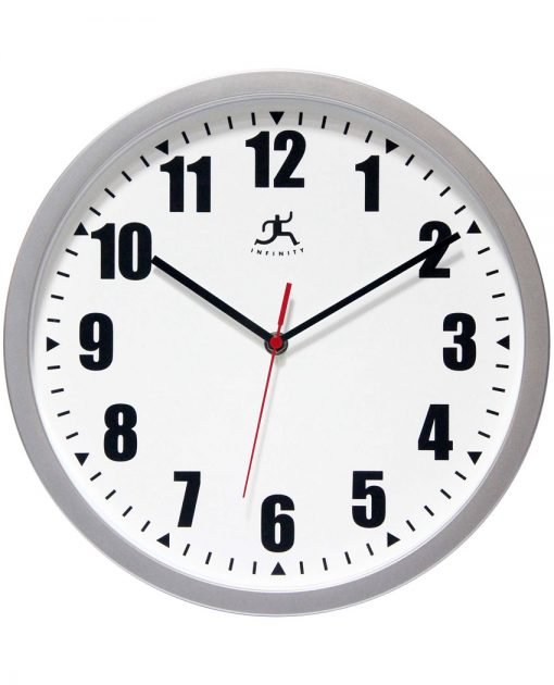 14480SV-3733-lo-res wall clock image silver office clock 12 inch