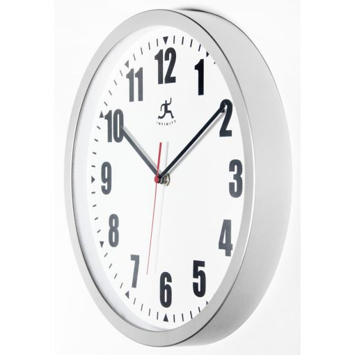 from left side silver office wall clock 12 inch easy to read durable