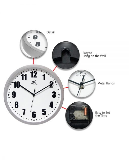 silver office wall clock 12 inch simple easy to read durable