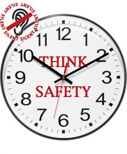 12 inch Think Safety Black Resin Wall Clock