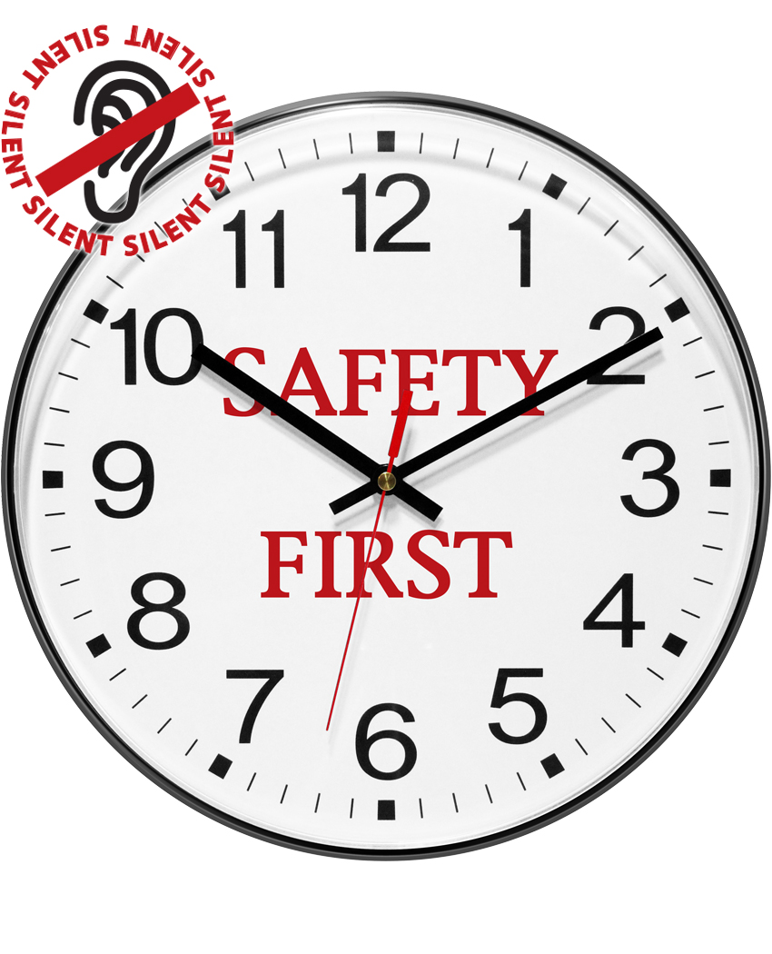 12 inch Safety First - Black; Resin Wall Clock