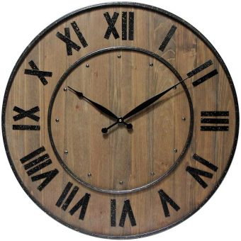 23 inch Wine Barrel Brown Wood/Steel Wall Clock