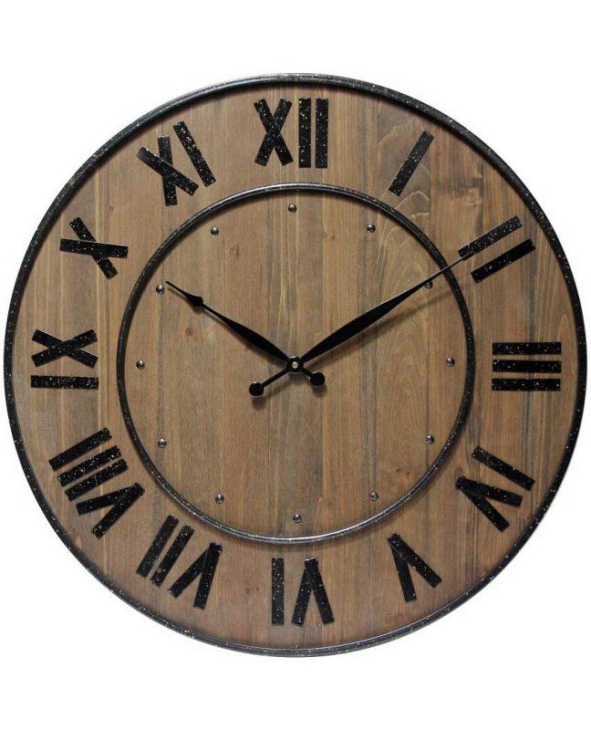 23 inch Wine Barrel Brown Wood/Steel Wall Clock