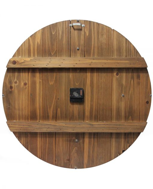 back of wall clock brown wooden wine barrel 23 inch