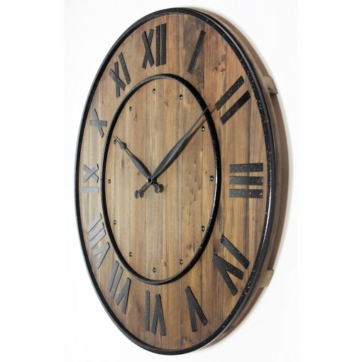 from left side wine barrel brown wall clock steel 23 inch