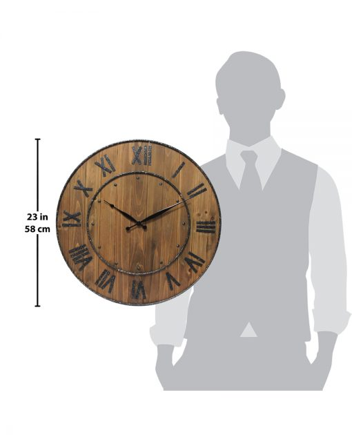 wine barrel brown wood and steel wall clock 23 inch large