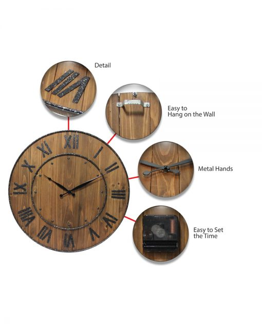 wine barrel brown wooden wall clock 23 inch