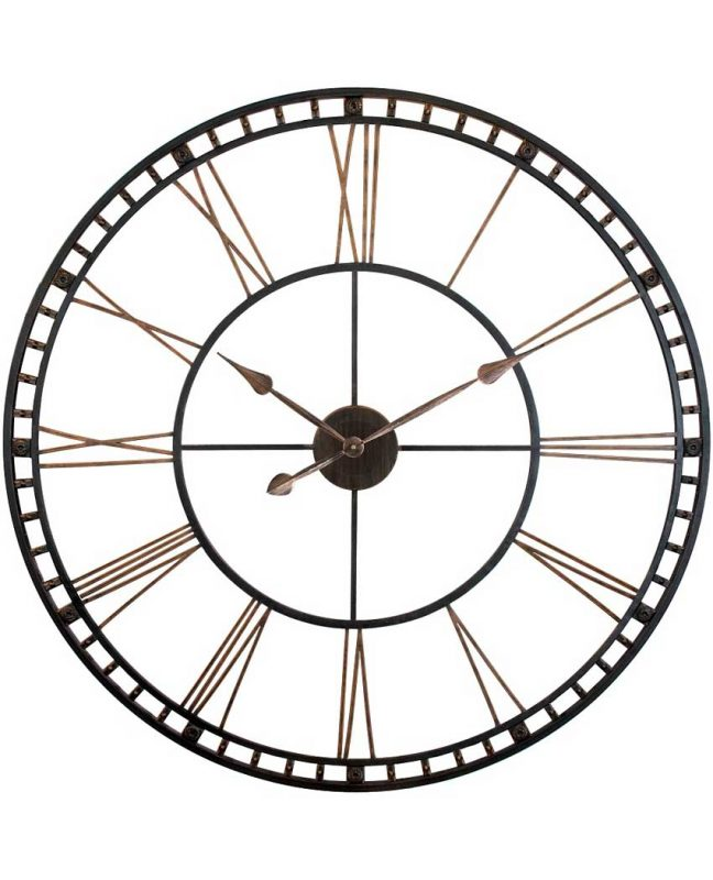 39 inch The Tower XXL; a Black Steel Wall Clock