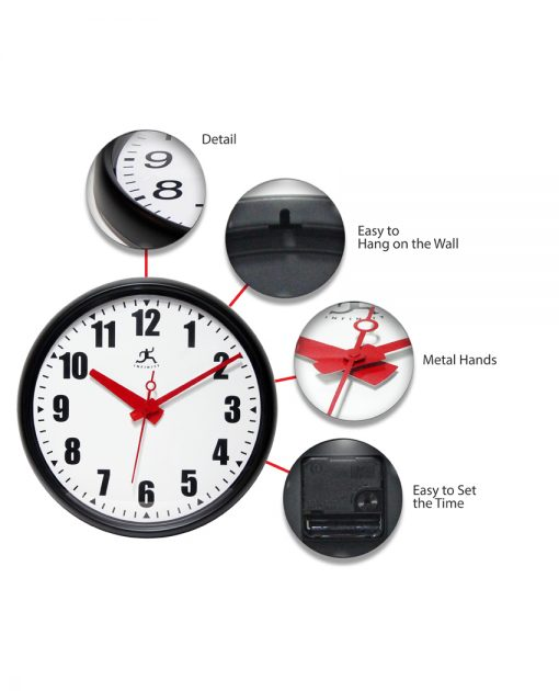 features of impact black wall clock 15 inch