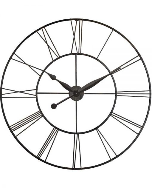 45 inch Skyscraper XXL; a Black Steel Wall Clock