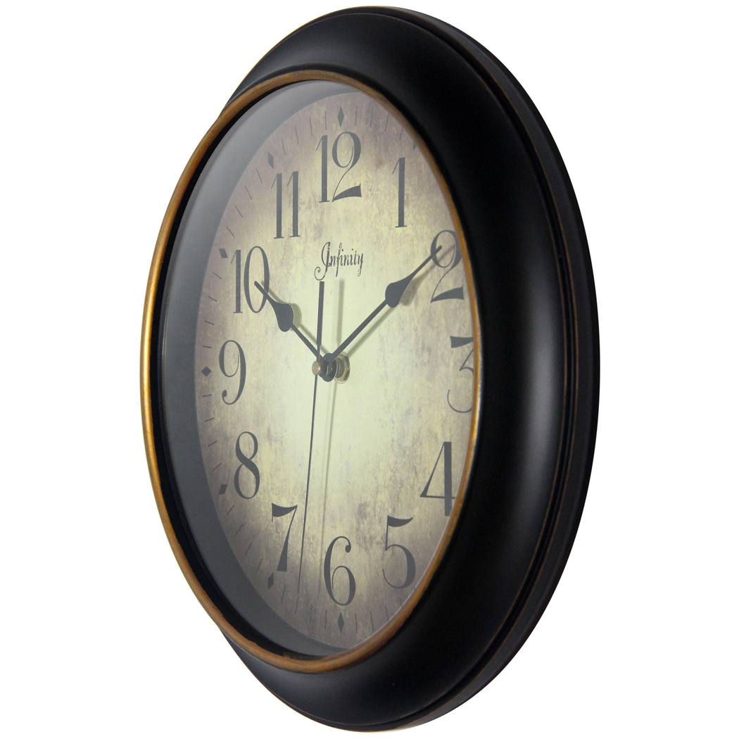 12 Inch Precedent A Black Resin Wall Clock Clock By Room