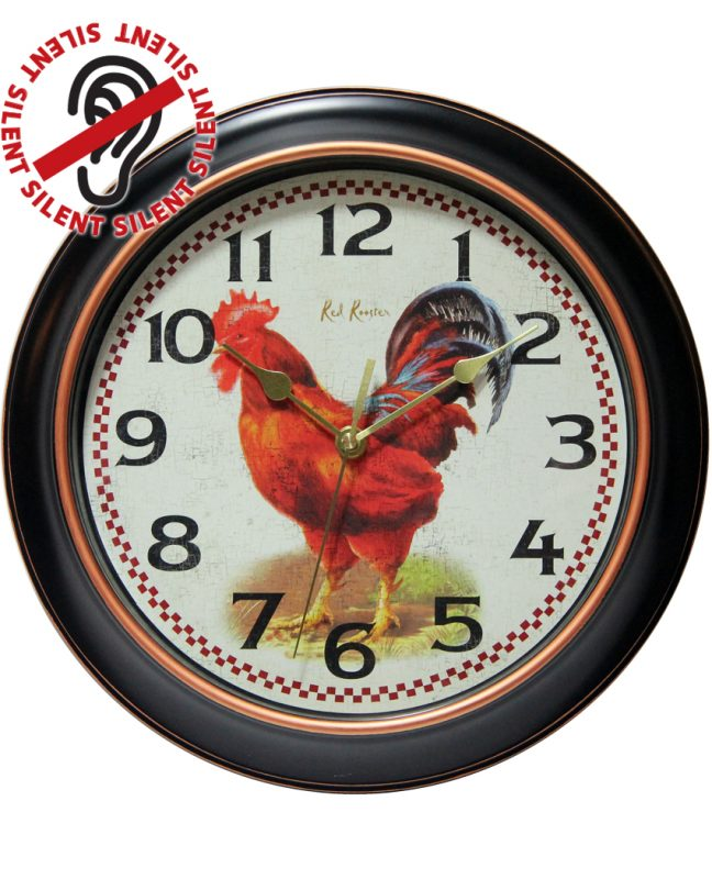 12 inch Red Rooster; a Black Resin Wall Clock