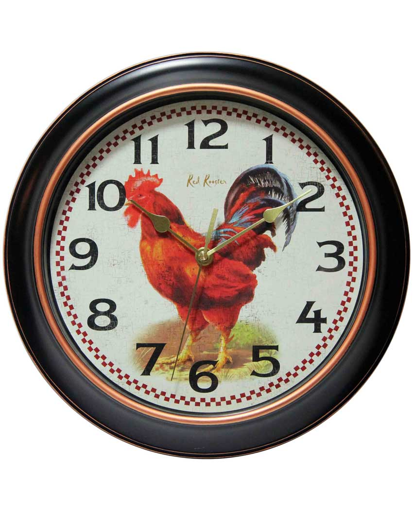 14877BG-3521 red rooster wall clock 12 inch