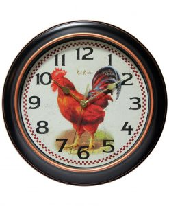 Red Rooster Wall Clock kitchen