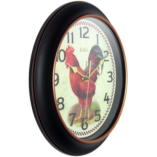 from right side red rooster black wall clock 12 inch