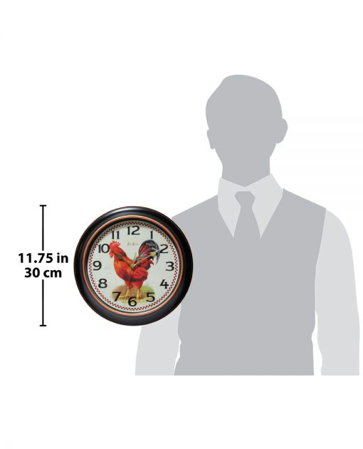 for scale red rooster black wall clock 12 inch