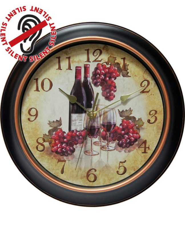 12 inch Pinot Black Resin Wall Clock