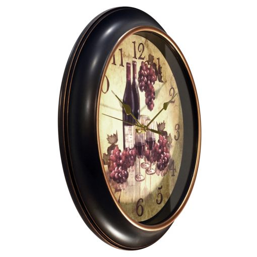 from right side pinot black wall clock 12 inch
