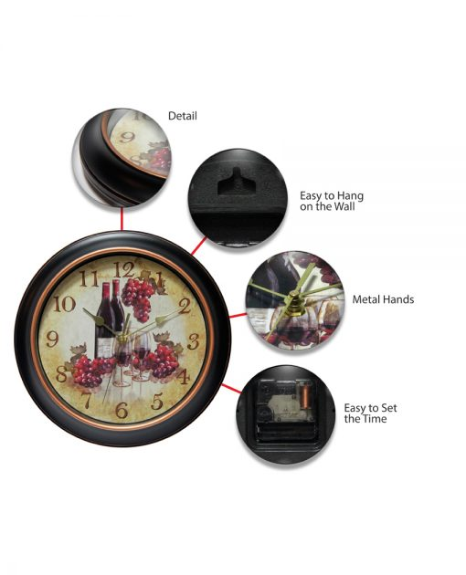 features of pinot wine wall clock 12 inch