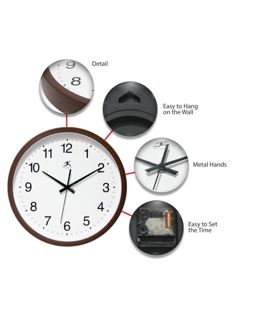 features of walnut resin wall clock
