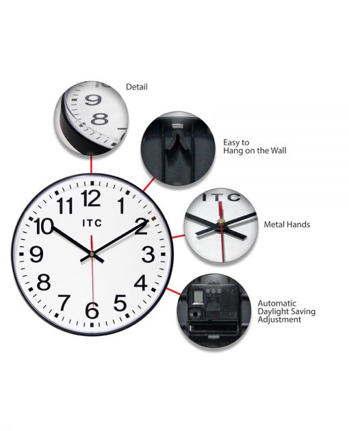 features carnegie black wall clock 12 inch
